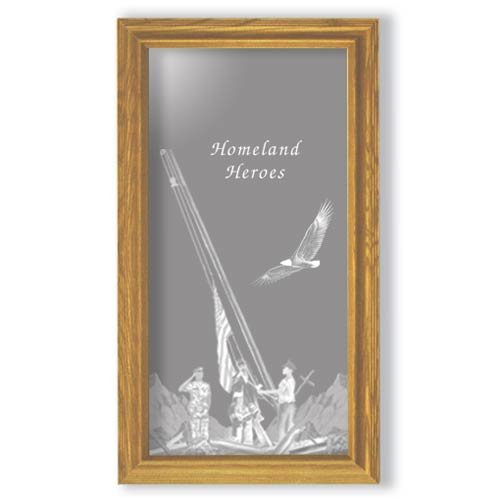 "15""x27"" Rectangular Homeland Heroes Etched Wall Mirror"