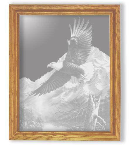 "27""x35"" rectangular ""The Promise"" American Bald Eagle Etched Wall Mirror"