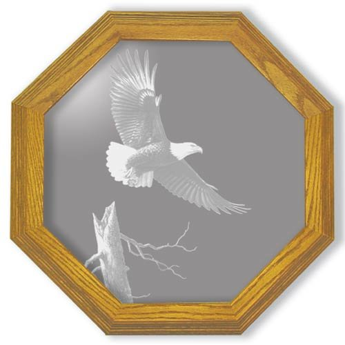 "28"" octangon ""The Promise"" American Bald Eagle Etched Wall Mirror"