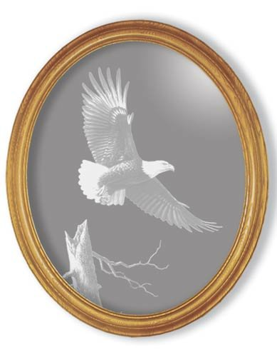 "15""x19"" oval ""The Promise"" American Bald Eagle Etched Wall Mirror"