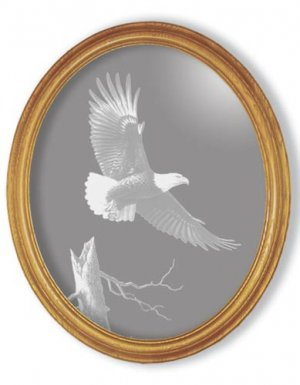 "19""x23"" oval ""The Promise"" American Bald Eagle Etched Wall Mirror"