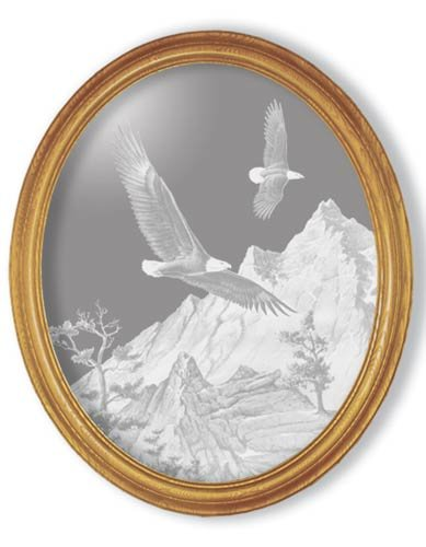 """19""""x23"""" oval """"Soaring the Peaks"""" American Bald Eagle Etched Wall Mirror"""
