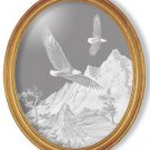 "19""x23"" oval ""Soaring the Peaks"" American Bald Eagle Etched Wall Mirror"