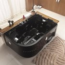 Two Person Jetted Massage Hydrotherapy Black Corner Tub, with Bluetooth - Model 52AB