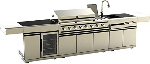 3 Piece Modular Island Electric Gas Bbq Outdoor Grill Kitchen With Wine Fridge Marble Top