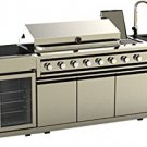 3 Piece Modular Island Electric & Gas BBQ Outdoor Grill Kitchen, with Wine Fridge & Marble Top
