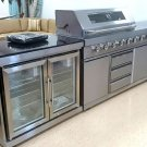 5 Piece Modular Island Electric & Gas BBQ Outdoor Grill Kitchen, with Wine Fridge & Marble Top
