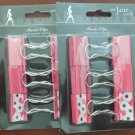 Brand New See Jane Work 2) Sets of Med.SZ 12 Total, Pink Binder Clips  Free Ship