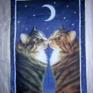 Kissing kitties Starry night cotton towel for cat lovers unused cm1021