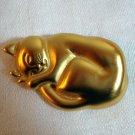 Anne Klein gold tone sleeping cat pin brooch mint vintage cm1037