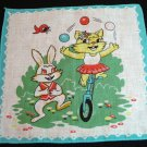 Juggling cat on unicycle and dancing rabbit vintage childs hanky cm1041