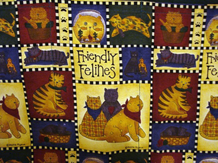 Friendly felines vintage chef's apron Debbie Mumm fabric cm1069