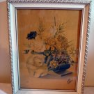 Portuguese cat print framed vintage white Persian Angora kitten flower arrangement cm1092