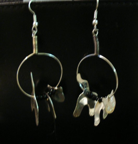 Silver cat mobile earrings on hoops with black beads cm1106