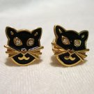 Cats heads earrings gold plate enamel rhinestones Avon post vintage costume jewelry cm1242