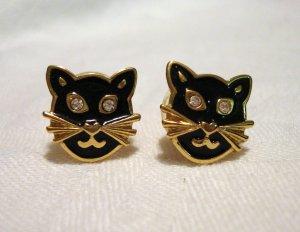 Cats heads earrings gold plate enamel rhinestones Avon post vintage costume jewelry cm1242