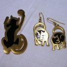 Nuri cat drop earrings and pin set gold plate black enamel unused jewelry cm1246