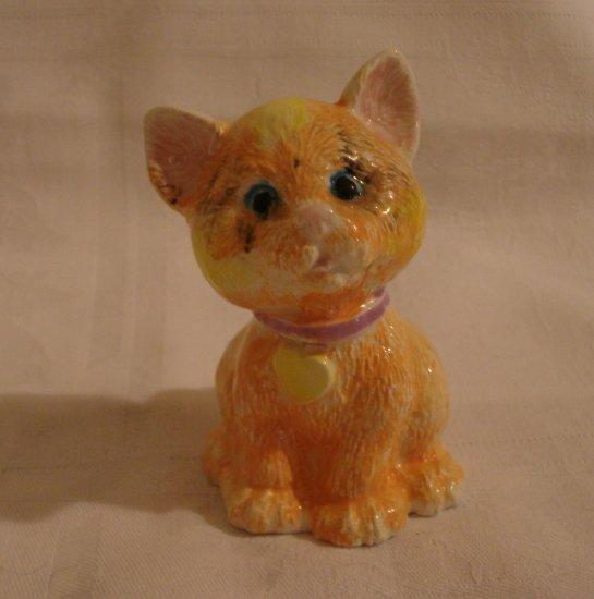 Orange marmalade cat figurine hand decorated vintage kitten cm1276