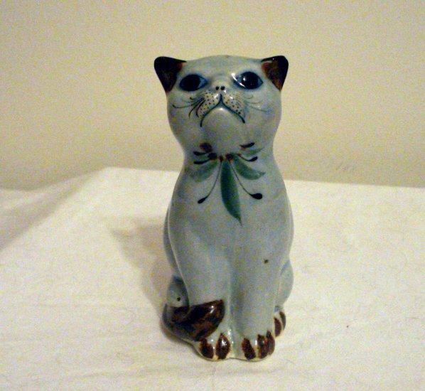 Tonala Mexico pottery cat bird motif signed vintage cm1285