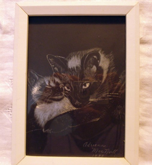 Cat and kitten scratchboard picture silver underlay signed framed vintage cm1309
