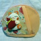 Japanese maneki neko welcome cat fabric cosmetic bag purse 2 zip compartments stuffed kitty cm1313
