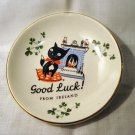 Black cat Good Luck from Ireland pin dish or tea bag saucer Carrigaline vintage cm1319