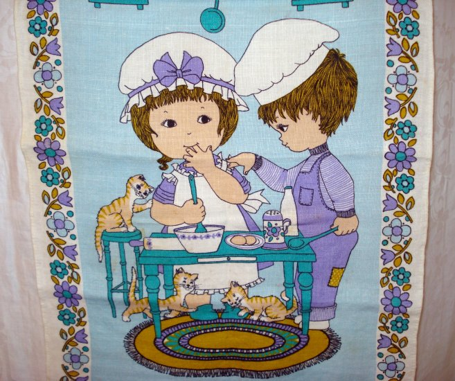 Good friends too many cooks Ulster linen towel with cats and dogs excellent vintage cm1363