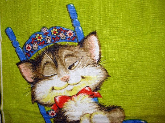 Cat in Swedish rocking chair Irish linen towel Dunmoy excellent vintage cm1365