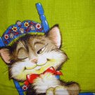 Cat in Swedish rocking chair Irish linen towel Dunmoy excellent vintage cm1365