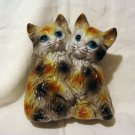 Loving cats hollow molded plastic bank calico kittens vintage cm1380
