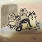 Limited edition 3 cats print signed numbered framed preowned cm1382