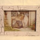 Small 2 Cats in doorway framed picture preowned perfect cm1391