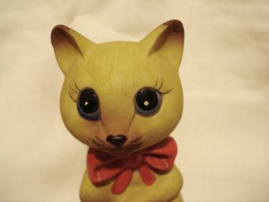 Ceramic cat bell bisque red bow tie JSNY excellent vintage cm1398