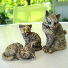 Tabby cat family figurines mom 2 kittens ceramicJapan vintage cm1406