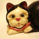 Black and white tuxedo cat ceramic figurine matte finish vintage excellent cm1410