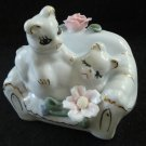 Two cats on sofa with roses porcelain figurine  vintage excellent cm1413