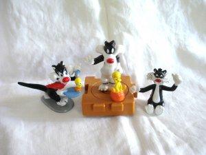 Lot of 3 Sylvester the Cat Tweetie Bird Warner Bros.figures 1989 -1996 cm1421