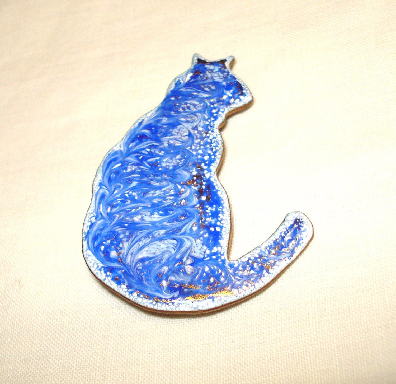 Blue enamel on copper cat pin brooch perfect vintage wear 3 ways cm1437