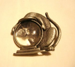 JJ cat with head in fish bowl figural pin brooch vintage cm1450