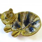USA green cat ashtray, spoon rest soap candy dish vintage cm1456