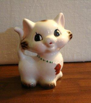 Ceramic cat kitten still bank fish necklace stopper intact vintage cm1460