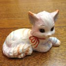 Jody Bergsma Celebrate rainbow striped kitten cat figurine bisque ceramic cold paint vintage cm1467