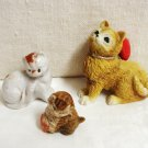 Lot of 3 small kitten cat figurines Wade, Japan, heart cm1470