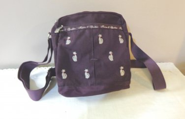 Fonno & Sportsac plum shoulder bag embroidered with cats both sides cat zipper pulls vintage cm1478
