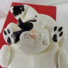 Black on white cat in convertible ceramic figurine handmade vintage cm1480