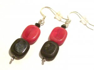 Red & Black Flats (Sterling Earwire)
