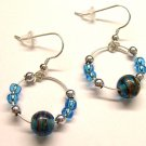 Small Galaxy Hoops - Blue (Sterling Earwire)