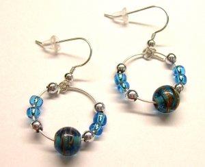 Small Galaxy Hoops - Blue (Sterling Earwire)