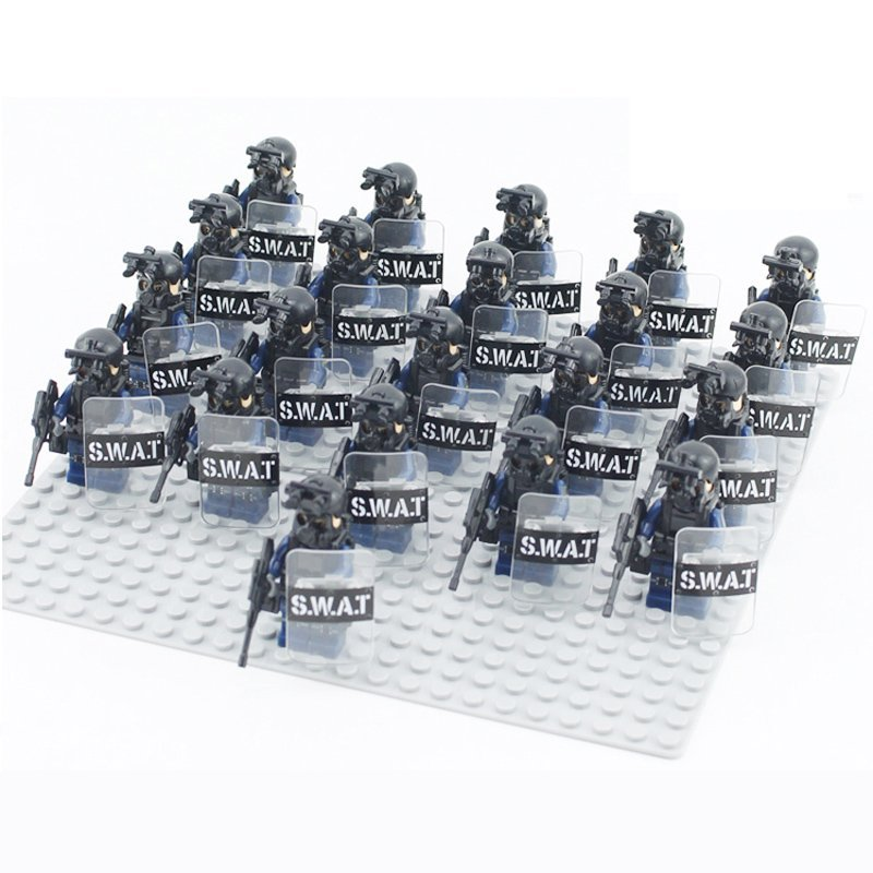 Swat Team Vs Zombie Army With Gear Brick Built Toy Compatible Lego
