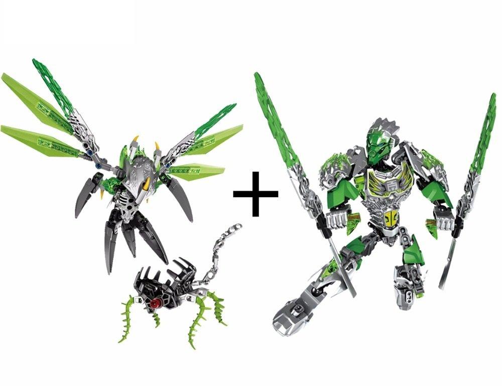 Uxar Creature of Jungle vs Lewa Figures Bricks Toy Lego Bionicle Hero  Factory Fit Sets